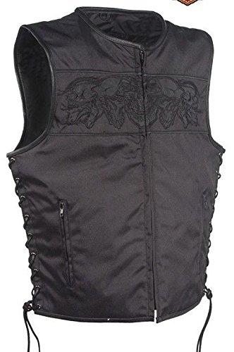 Mens Motorcycle Side Reflective Skull Textile Vest With Side Lace 2 Gun PocketsRegular L