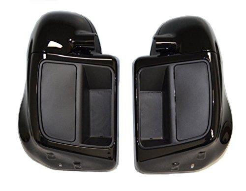 Vivid Gloss Black Lower Vented Leg Fairings w Speaker Pods and Hardware for Harley Davidson 2014 2015 2016 Touring Models FLT FLHT FLHTCU FLHRC