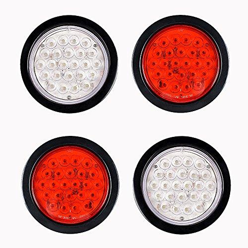 4pcs 2 RED  2 WHITE 4 Round 24-LED Rubber Cover Truck Trailer Brake Stop Tail Back-up Reverse Fog Lights