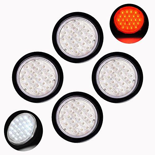 4pcs WhiteRed Clear Lens 4 Round 24-LED Truck Trailer Brake Stop Tail Backup Reverse Fog Light with Grommet Plug Kit  Wiring