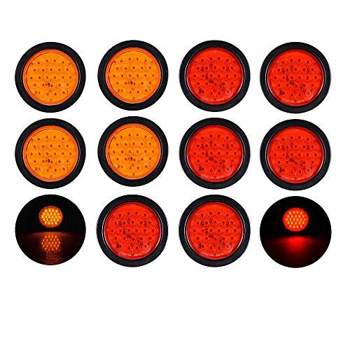 6pcs RED  4pcs AMBER 4 Round 24-LED Truck Trailer Brake Stop Turn Signal Tail Light w Grommet Plug Wiring Kit
