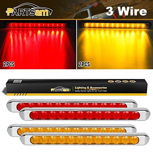 Partsam 4pcs RedAmber 17 12 LED Light ID Bars Stop Turn Signal Tail Brake Truck Trailer w Chrome Bezels