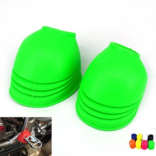 JFG RACING Green Universal Dust-proof Foot Pegs Foot Pedals Cover Protector For Dirt Bike Road Motorcycle Kawasaki KX125 KX250 KX250F KX450F KLX250