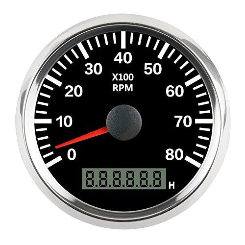 GOGOLO 0-8000 RPM 334685mm Digital Analogue Tachometer Engine Speed Gauge Kit with LED Light Plus Engine Working Time Monitor for 12V24V VehiclesMotorBoatsTruck