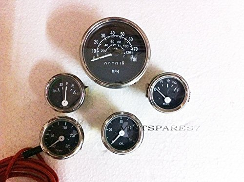 RS Vintage Parts EBY0370 Willys Mb Jeep Ford Gpw Gauges Kit Speedometer Temp Oil Fuel Amp Gauges Black