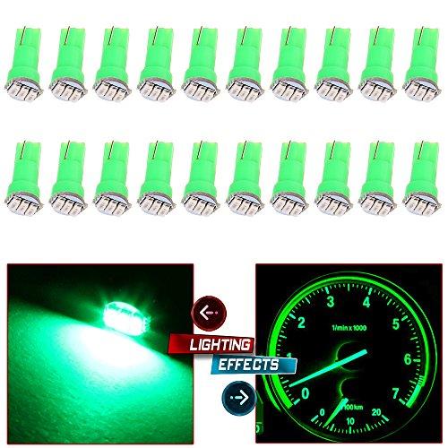 20x T5 17 74 73 3-3014SMD Instrument Gauge Dash Indicator LED Light Bulbs Green