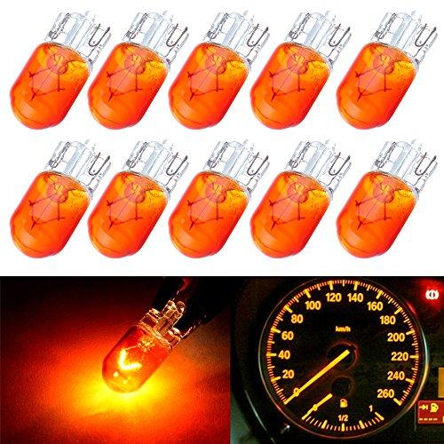 CCIYU 10 Pack T10 168 194 W5W OrangeYellow Halogen Light Bulb Instrument Cluster Gauge Dash Lamp