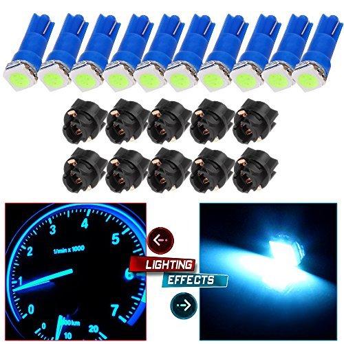 CCIYU 10x Ice Blue LED 10x Sockets Dash Instrument Panel Light Bulb T5 70 73 74 Used For side markers running lights corner bumper lights license plate lights etc