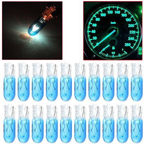 CCIYU 20 Pack Blue T5 17 86 206 Halogen Light Bulb Instrument Cluster Gauge Dash Lamp 12V