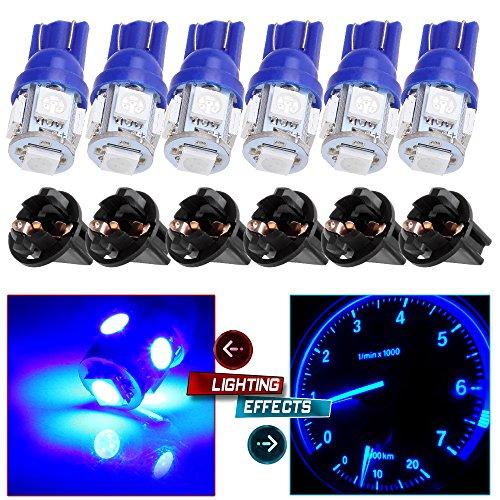 CCIYU 6T10 5-5050-SMD PC194 Blue LED Bulb Instrument Panel Cluster Dash Light Twist Lock Socket