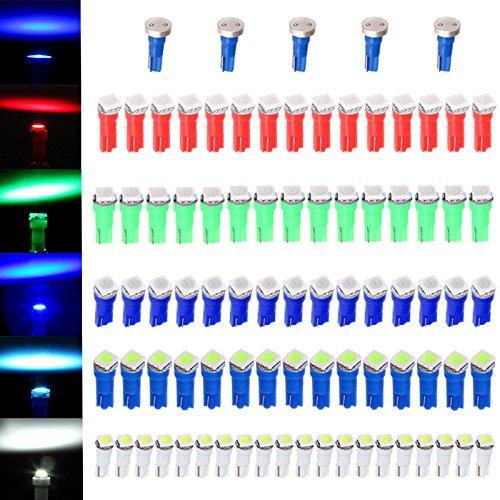 CCIYU 80 Pack T5 58 70 73 74 Dashboard Gauge 5050SMD LED Wedge Lamp Bulb Light 5 Colors  5 Pack Blue High Power T5 37 70 73 74 Instrument Panel Cluster Dash LED Bulbs Light Lamp