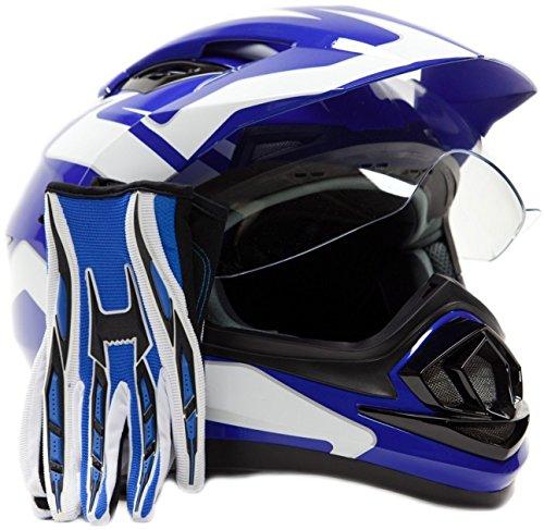 Dual Sport Helmet Combo w Gloves - Off Road Motocross UTV ATV Motorcycle Enduro - Blue - Large