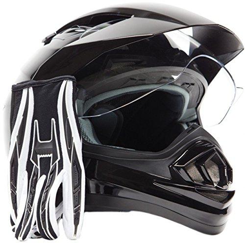 Dual Sport Helmet Combo w Gloves - Off Road Motocross UTV ATV Motorcycle Enduro - Gloss Black  Black - XL