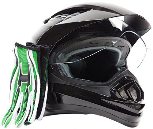 Dual Sport Helmet Combo w Gloves - Off Road Motocross UTV ATV Motorcycle Enduro - Gloss Black  Green - XL