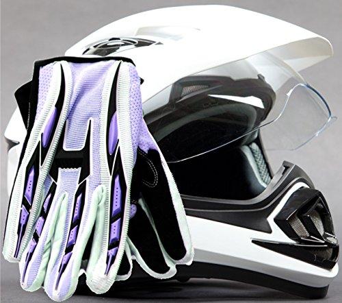 Dual Sport Helmet Combo w Gloves - Off Road Motocross UTV ATV Motorcycle Enduro - Gloss White  Purple - Medium