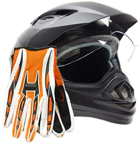 Dual Sport Helmet Combo w Gloves - Off Road Motocross UTV ATV Motorcycle Enduro - Matte Black  Orange - Large