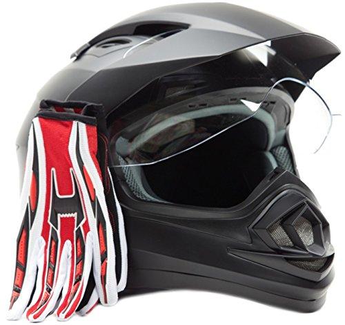 Dual Sport Helmet Combo w Gloves - Off Road Motocross UTV ATV Motorcycle Enduro - Matte Black  Red - Large