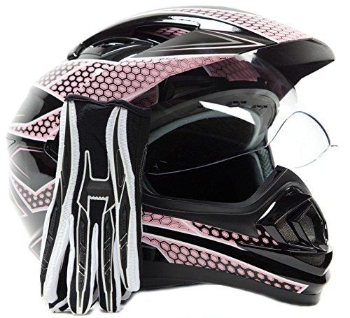 Dual Sport Helmet Combo w Gloves - Off Road Motocross UTV ATV Motorcycle Enduro - Pink  Black - Small