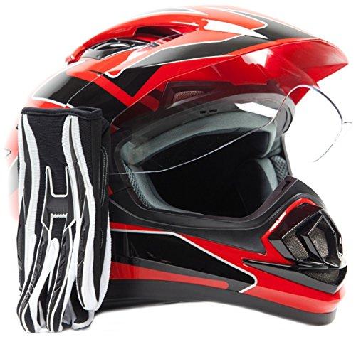 Dual Sport Helmet Combo w Gloves - Off Road Motocross UTV ATV Motorcycle Enduro - Red  Black - XL