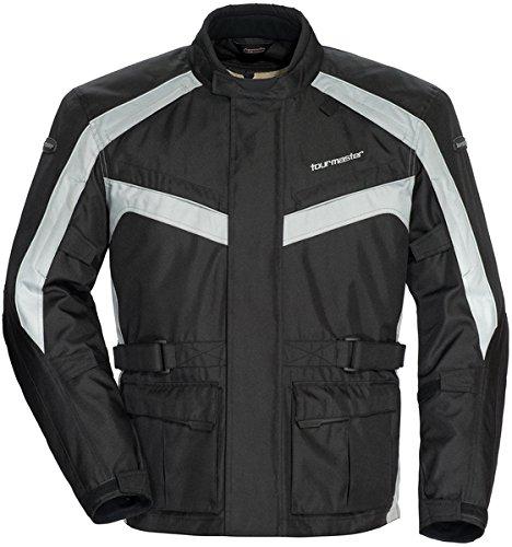 TourMaster Saber 40 Mens 34 Outer Shell Textile Motorcycle Jacket SilverBlack Large