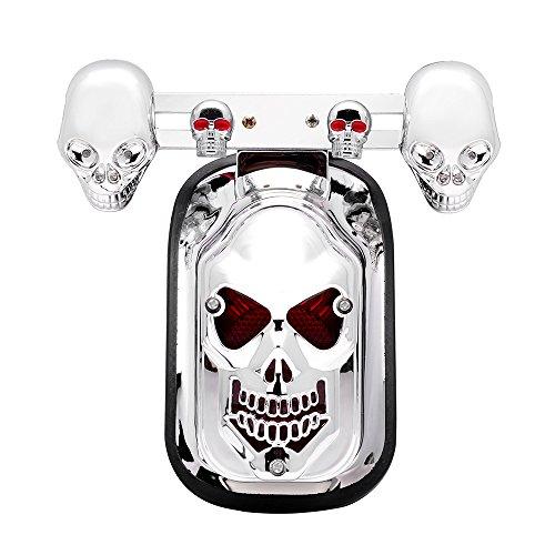 Custom Chrome Motorcycle Skull Tombstone Blue&Flashing Red Running Tail Brake Light License Plate Bracket Turn Signal