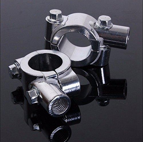 HTTMT- 8MM Chrome 78 22mm Motorcycle HandleBar Mirror Thread Mount Holder Clamp Adaptor