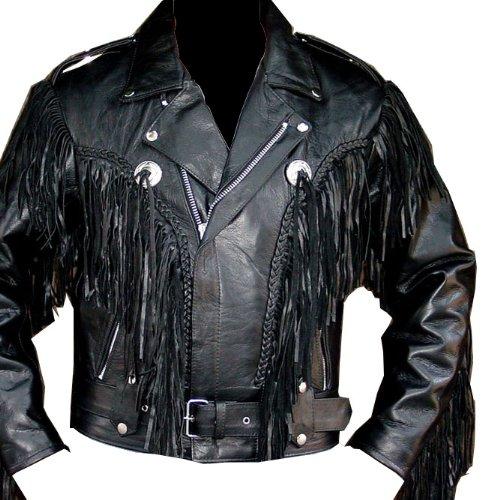 Fringe Motorcycle Riding Leather Jacket-52