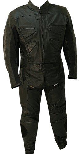 Perrini 2pc Alienator Motorcycle Racing Riding Leather Track Suit w Armor Padding New