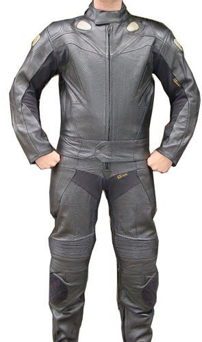 Perrini 2pc Motorcycle Racing Riding Leather Track Suit w Armor Black