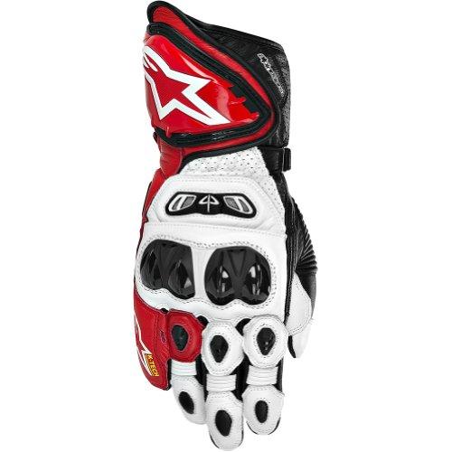 Alpinestars Gp Tech Men's Leather Street Bike Racing Motorcycle Gloves - White/red/black / Large