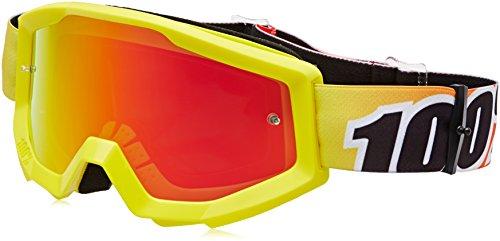 100 Strata MX Goggles Mirror Lens Sunny Days YellowRed