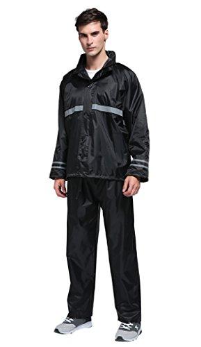 Maiyu Rain Gear Motorcycle Rain Jacket and Rain Pants Set 2 Piece Rain Suits For Men