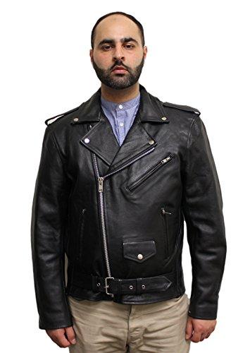 MotoArt Mens Classic Cruiser V1 Biker Leather Jacket