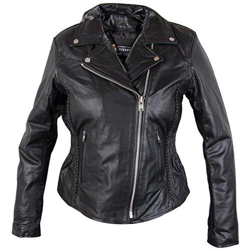 Xelement B8005 Ladies Classic Cruiser Leather Braided Motorcycle Black Jacket - 3X-Large