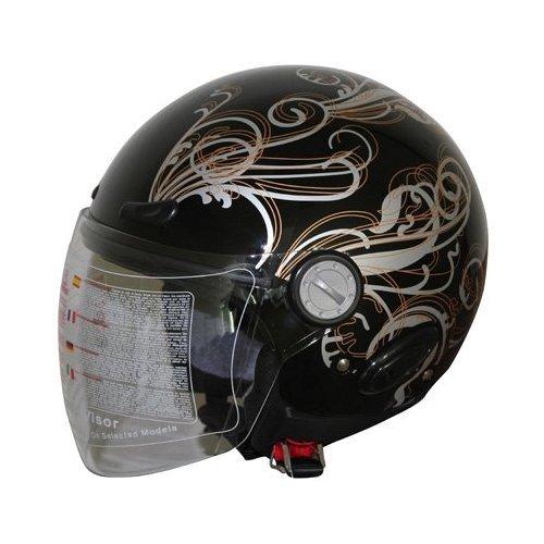 Adult Open Face Motorcycle Helmet Dot Black (318) 365 M