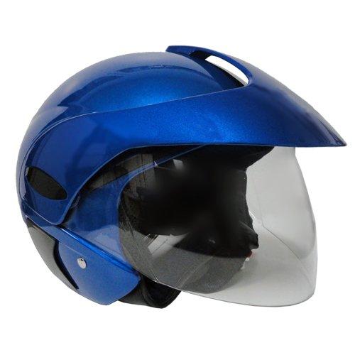 Motorcycle Scooter Open Face Helmet Dot Flip Up Shield - Blue (large)
