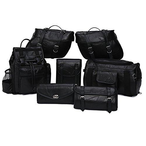 Genuine Leather 9-Piece Motorcycle Saddlebag Luggage Set