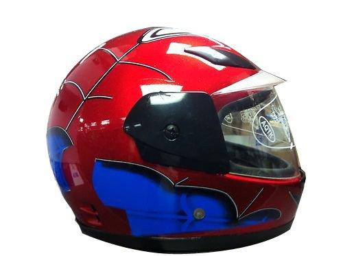Kids Full Face Helmet Spiderman Light Weight Motorcycle Red