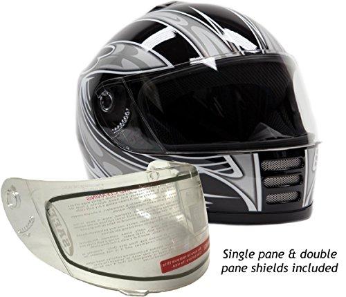 Youth Kids Full Face Snowmobile Snow Helmet Black  Small