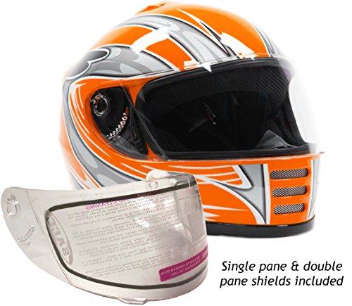 Youth Kids Full Face Snowmobile Snow Helmet Orange  XL