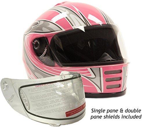 Youth Kids Full Face Snowmobile Snow Helmet Pink  Medium