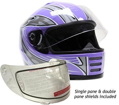 Youth Kids Full Face Snowmobile Snow Helmet Purple  Medium