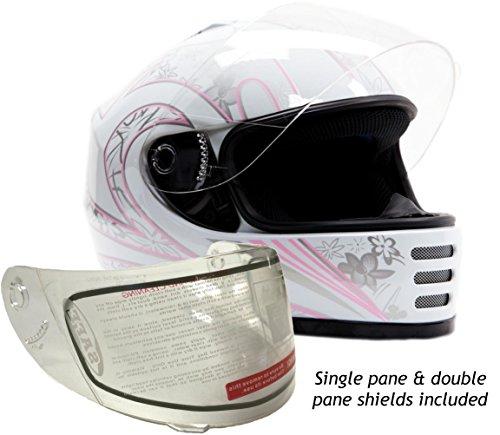 Youth Kids Full Face Snowmobile Snow Helmet White Pink  Medium
