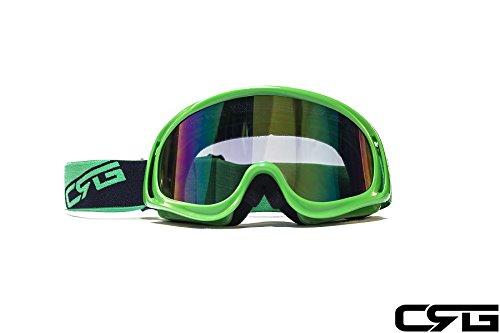 CRG Sports Motocross ATV Dirt Bike Off Road Racing Goggles GREEN T815-3-5A T815-3-5A Multi-color lens green frame