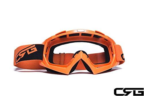 CRG Sports Motocross ATV Dirt Bike Off Road Racing Goggles ORANGE T815-7-6 T815-7-6 Transparent lens orange frame