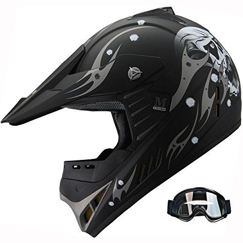 Kid ATV Motocross Dirt Bike Off-road Helmet Combo Skull YA82 goggles Matt Black YL