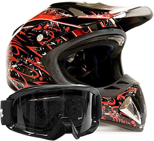 Adult Offroad Helmet Goggles Gear Combo Red w Black  XXL