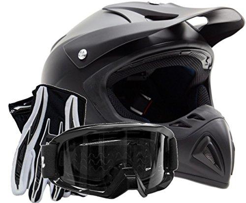 Adult Offroad Helmet Goggles Gloves Gear Combo Matte Black  Medium