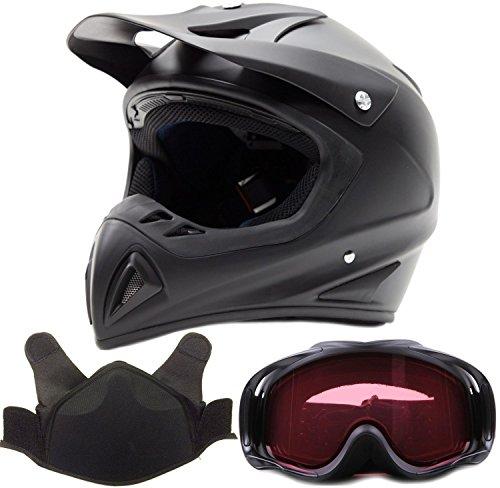 Adult Snocross Snowmobile Helmet Goggle Combo - Matte Black  XL