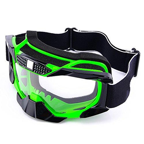 MotorFansClub Motorcycle Motocross MX Dirt Bike Off Road Riding Racing Helmet GogglesGreen